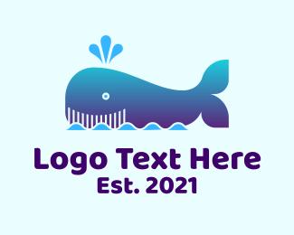 Sea - Happy Whale Sea logo design