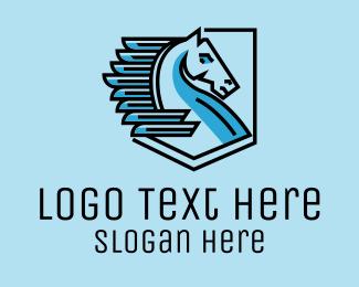 Pegasus - Flying Pegasus Emblem  logo design
