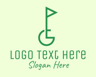 Golfer - Green Golf Course Letter G logo design