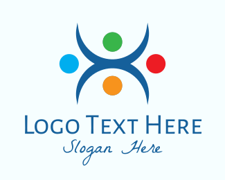 Trainer - Abstract Multicolor Fitness People logo design