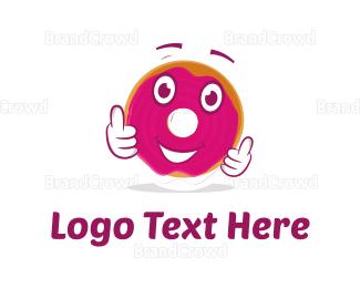 Kids Party - Donut Cartoon logo design