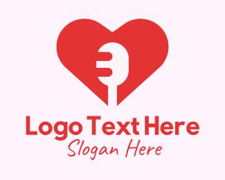 Microphone - Microphone Heart Lover logo design