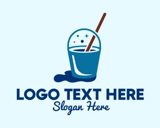 Hygiene - Cleaning Mop Bucket logo design