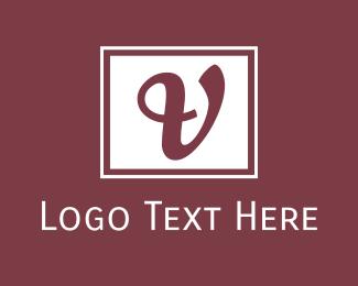Classy - Cursive V Emblem logo design