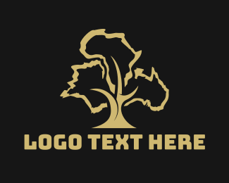 Continent - France Africa Australia Tree logo design