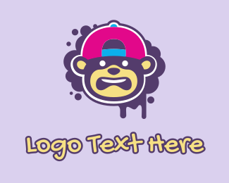 Gas Mask - Children's Kids Graffiti Monkey logo design