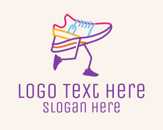 Running - Colorful Running Shoe logo design