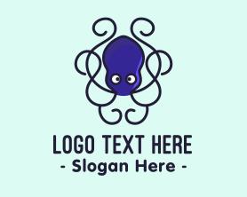 Squid - Blue Octopus Tentacles logo design