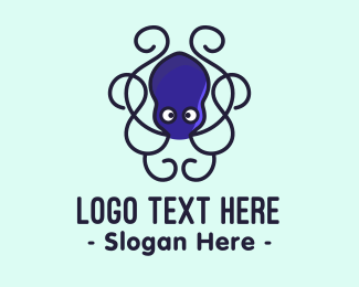Squid - Blue Octopus Tentacles logo design