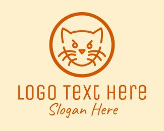 Cat Food - Angry Orange Cat  logo design
