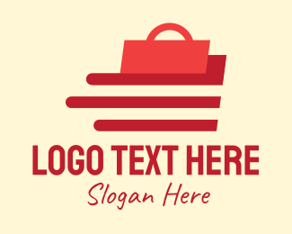 Shopify - Red Shopping Bag Delivery logo design