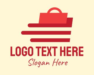 Shopify - Red Shopping Bag Delivery logo design