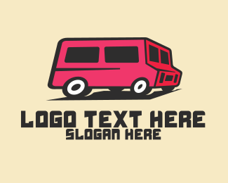 Tour Bus - Pink Van Transport logo design