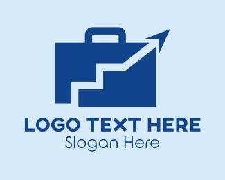 Business Trip - Orange Blue Briefcase logo design