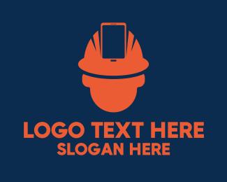 Hard Hat - Orange Online Protection logo design