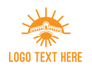 Temple - Orange Sun Temple  logo design