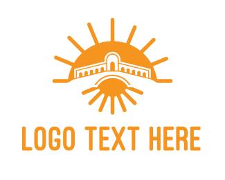 Temple - Orange Sun Temple  logo design