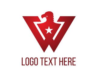 Bird Of Prey - W Red Eagle  logo design