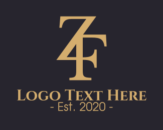 Luxury Brand - Golden Z & F Monogram logo design