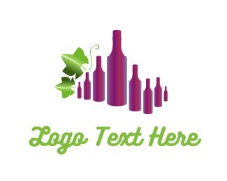 Grape - Wine Bottles logo design