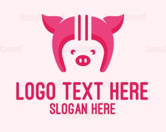 Helmet - Pig Helmet logo design