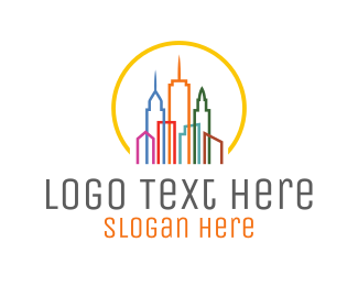 Life - Colorful City Buildings logo design