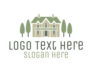 Wedding - Mansion Estate & Trees logo design