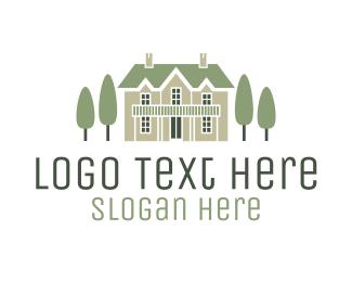 Interior Design - Mansion & Trees logo design