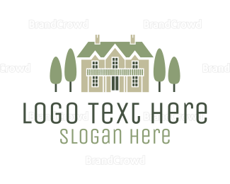 Gardening - Mansion & Trees logo design