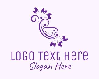 Vintage - Purple Floral Ornament logo design