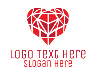 Puzzle - Heart Mosaic logo design