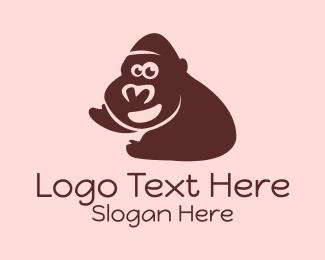 Ape - Brown Smiling Gorilla  logo design