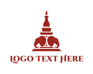 Hindu - Red Indian Tower logo design