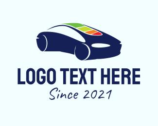 Sedan - Blue Electric Car logo design