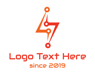 Thunder - Red Thunder Circuit logo design