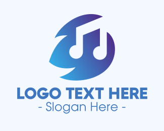 Music - Blue Musical Note logo design
