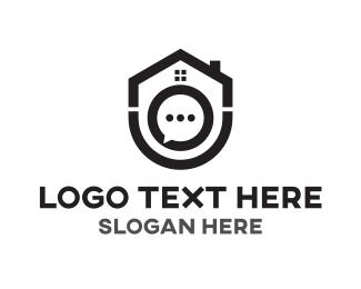 Real Estate - House Chat logo design