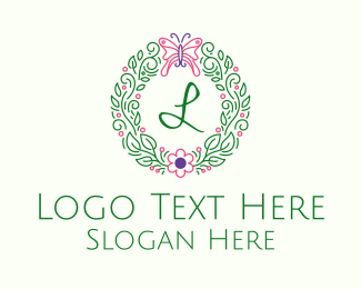Invitation - Butterfly Wreath Lettermark  logo design
