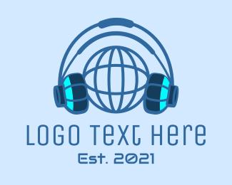 Headphone - Blue Global Gaming logo design