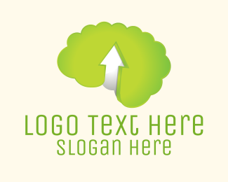 Going Up - Green Brain logo design