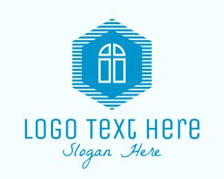 Cathedral - Blue Hexagon Door logo design