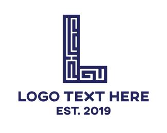 Glyph - Blue L Maze logo design