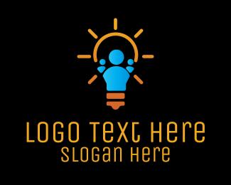 Think Tank - Human Electric Light Bulb logo design