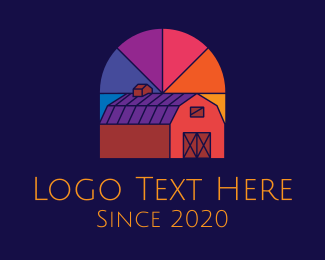 Farmland - Colorful Stained Glass Barn logo design