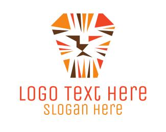 Pictorial - Orange Lion Mosaic logo design
