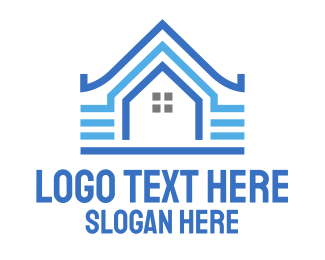Blue House - Blue Pattern House logo design