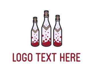 Sangria - Wine Bottles logo design