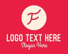 Handmade - Pink Handwritten Letter F logo design