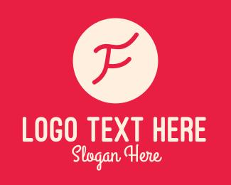 Author - Pink Handwritten Letter F logo design