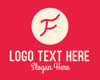 Signature - Pink Handwritten Letter F logo design